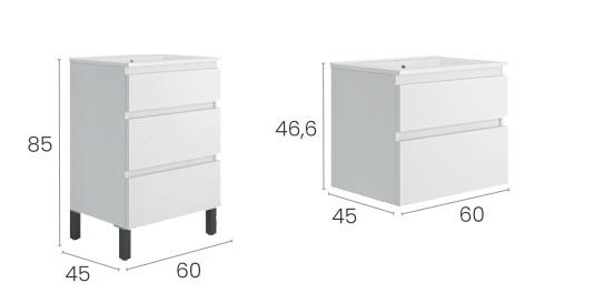 Muebles Capri 60 cm con patas y suspendidos